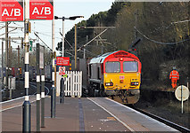 NT9953 : A freight train approaching Berwick Railway Station by Walter Baxter