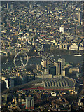 TQ3179 : Waterloo railway station and The London Eye from the air by Thomas Nugent