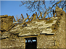 NY9539 : Stone roof at High Farm by Mike Quinn