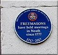 SS7597 : Freemasons blue plaque, Queen Street, Neath by Jaggery