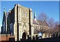 SU1585 : Doorway to St Barnabas Church by Des Blenkinsopp