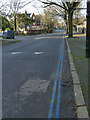 SK5639 : Double blue lines, Peveril Drive by Stephen Craven