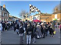 TL2797 : Pig Dyke Molly fly their flag -  Whittlesea Straw Bear Festival 2020 by Richard Humphrey