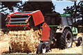 ST8181 : Straw Baling, nr Acton Turville, Gloucestershire 1983 by Ray Bird