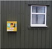 TA3719 : Defibrillator on Village Hall, Skeffling by JThomas