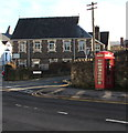 SO2914 : Red phonebox, Brecon Road, Abergavenny by Jaggery
