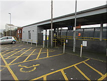 SS7597 : Yellow marked area outside Neath railway station by Jaggery