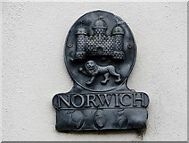 TG2208 : 86 Upper St Giles Street - Norwich Union fire insurance plate by Evelyn Simak
