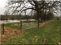 SO0153 : Gate towards ford at Glan-gwy by Hugh Craddock