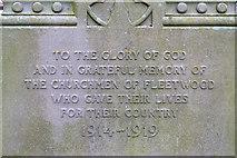 SD3347 : St Peter's War Memorial (inscription) by David Dixon