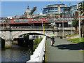 NS5864 : Cyclist approaching Glasgow Bridge by Stephen Craven