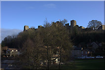 SO5074 : Ludlow Castle from west bank of River Teme by Robert Eva