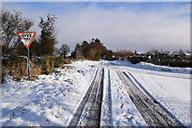 H5559 : Tracks in the snow on Garvaghy Road by Kenneth  Allen