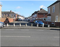 ST3186 : Concrete posts across the western end of Alice Street, Newport by Jaggery