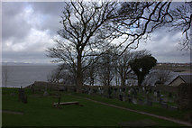 SD4161 : St Peter's church graveyard, Lower Heysham by Robert Eva