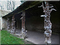 SE2708 : Rustic pillars at the front of the Deer Shelter, Cannon Hall, Cawthorne by Humphrey Bolton