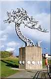 NZ4057 : Metallic tree sculpture by the Wear by Chris Morgan
