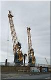 NZ4057 : Dockside cranes by the Wear by Chris Morgan