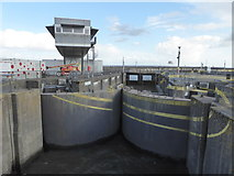 ST1972 : Cardiff Bay Barrage - lock and control building by Chris Allen
