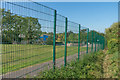 TQ1657 : Footpath alongside Leatherhead Trinity School by Ian Capper