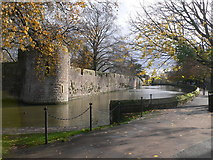 ST5545 : Wall and moat of the Bishop's Palace by Eirian Evans