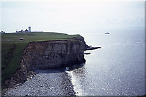 SS9168 : The bay & disused lighthouse at Nash Point by Colin Park
