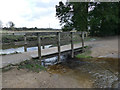 SJ8739 : Trentham Gardens: footbridge over the lake outflow by Stephen Craven