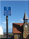 NZ3671 : National Cycle Route 1 Victoria Crescent, Cullercoats by Geoff Holland