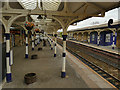 NY9464 : Hexham station: rows of columns by Stephen Craven