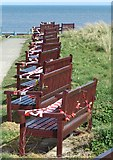 NZ3575 : Commemorative Seating, Curry's Point, Whitley Bay by Geoff Holland