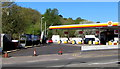 ST3089 : Cones across the entrance to the Shell filling station at 1 Malpas Road, Newport by Jaggery