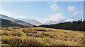 NN2579 : Moorland beside road climbing near the Allt Leachdach by Trevor Littlewood