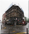 ST3188 : Fire-damaged building on a city centre corner, Newport by Jaggery