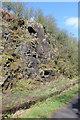 NS3357 : Bedrock by the Lochwinnoch Loop Line cycle path by Thomas Nugent