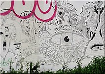 TG2309 : Graffiti on the Magdalen Street flyover abutment by Evelyn Simak
