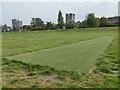 SE2633 : Armley Park: cricket pitch by Stephen Craven