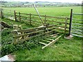NY9361 : Collapsed ladder stile near Queen's Letch by Oliver Dixon