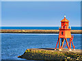 NZ3668 : The Herd Groyne Lighthouse, South Shields by David Dixon