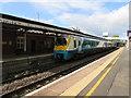 SO5058 : Transport for Wales dmu, platform 1, Leominster station by Jaggery