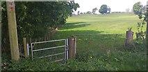NX9877 : Core path gate at Summerfield by Colin Kinnear