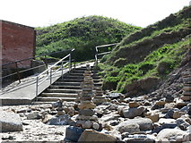NZ3474 : Stairs near Whitley Bay Boat Compound by Geoff Holland