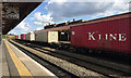 SP3165 : Container freight rolling northwest through Leamington Spa station by Robin Stott