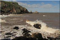 SX9364 : Rough sea at Devil's Point by Derek Harper