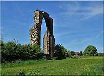 SK4338 : The east window arch of the abbey at Dale Abbey by Neil Theasby