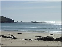 SW3526 : Looking towards Longships lighthouse from the beach at Sennen by Rod Allday