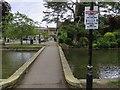 SP1620 : Social distancing notice by the footbridge by Steve Daniels