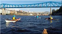 NZ2463 : Paddling under the Queen Elizabeth II bridge on the Tyne by Andy Waddington