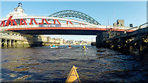 NZ2563 : Paddling under the swing bridge, Port of Tyne by Andy Waddington
