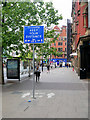 SJ8498 : Social Distancing Sign on Piccadilly (A6) by David Dixon