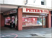 TG2309 : Peter's Family Butcher/Anglia Square shopping Centre by Evelyn Simak